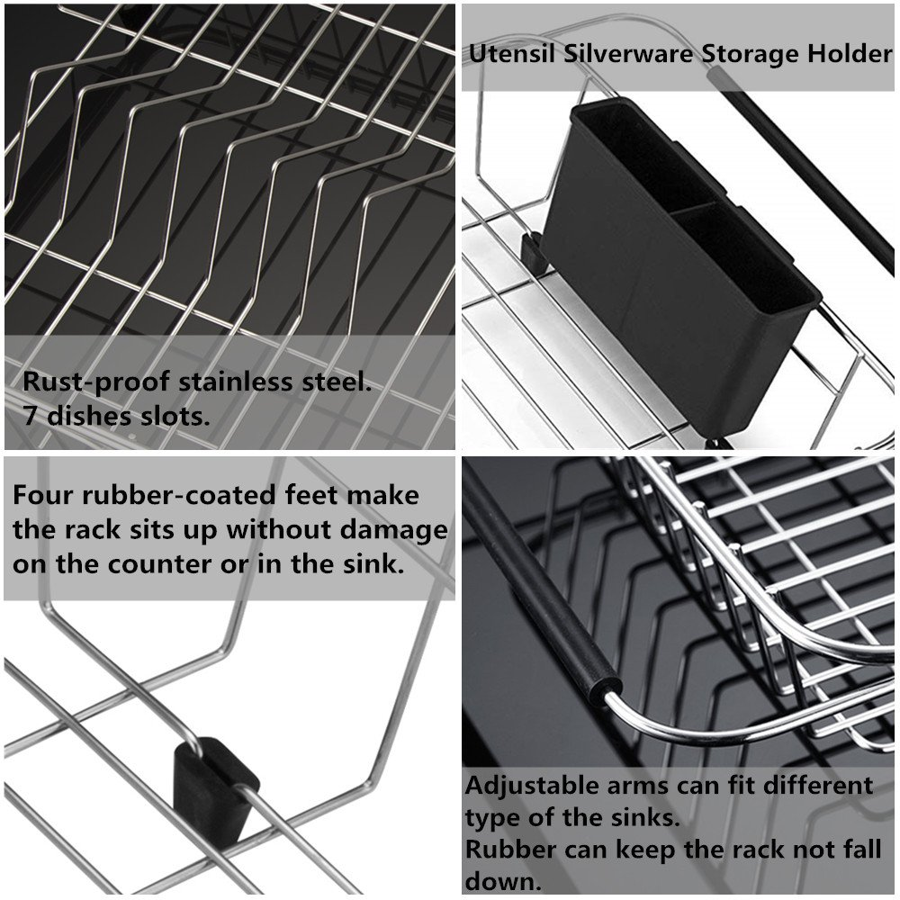 SANNO Expandable Dish drying Rack,Over the Sink Adjustable Dish Drainer,Dish Rack In Sink or On Counter with Utensil Silverware Storage Holder, Rustproof Stainless Steel by SANNO (Image #6)
