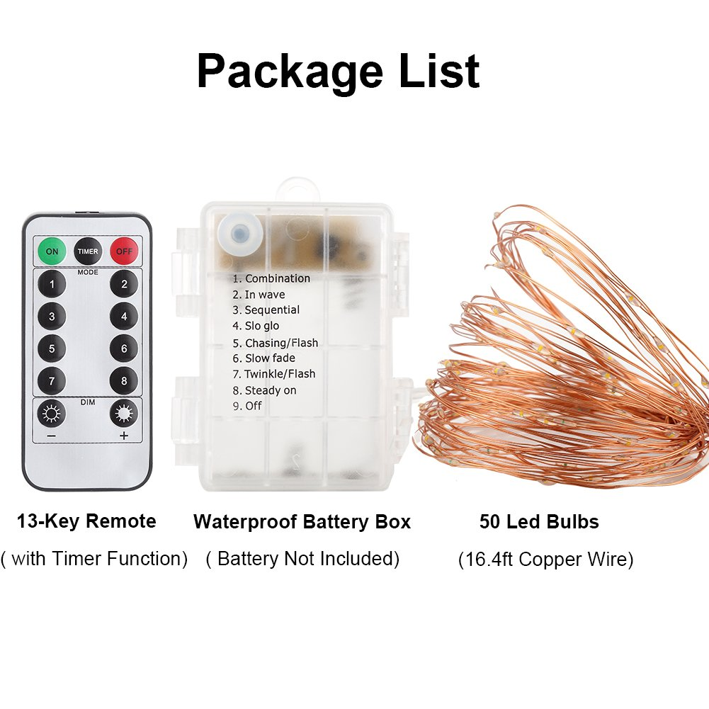 GDEAER TS11 4 Pack 16.4 Feet 50 Led Fairy Lights Battery Operated with Remote Control Timer Waterproof Copper Wire Twinkle String Lights for Bedroom Indoor Outdoor Wedding Dorm Decor Warm White