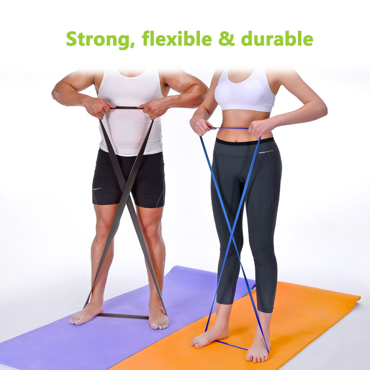 Resistance Loop Exercise Bands,GM5SMART Exercise Loops Fitness-Physical Therapy or Workout Bands with Instruction Guide,Carry bag,Set of 5