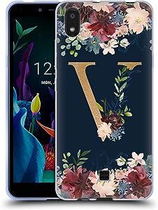 Head Case Designs Officially Licensed Nature Magick Letter V Floral Monogram Gold Navy 2 Soft Gel Case Compatible with LG K20 (2019)