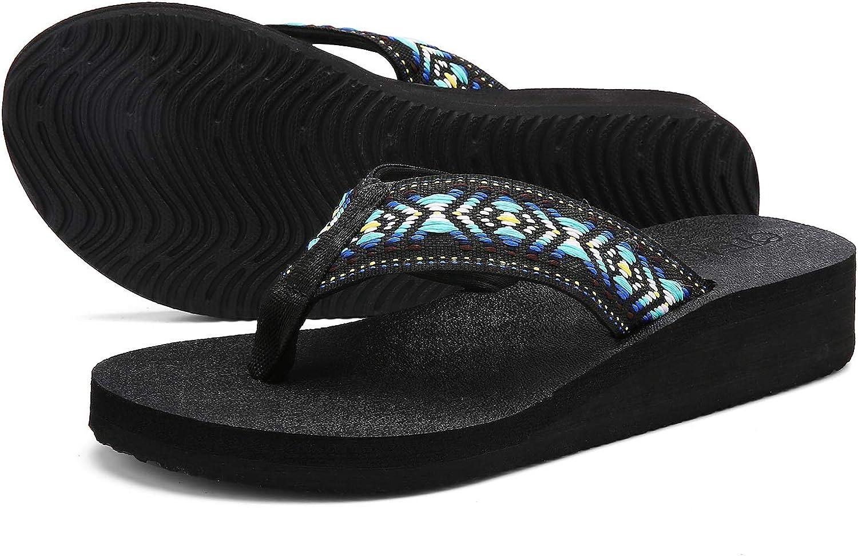UTENAG Women's Platform Flip Flops Casual Comfort Sandals Wedge Thong Slippers Lightweight Summer Flats