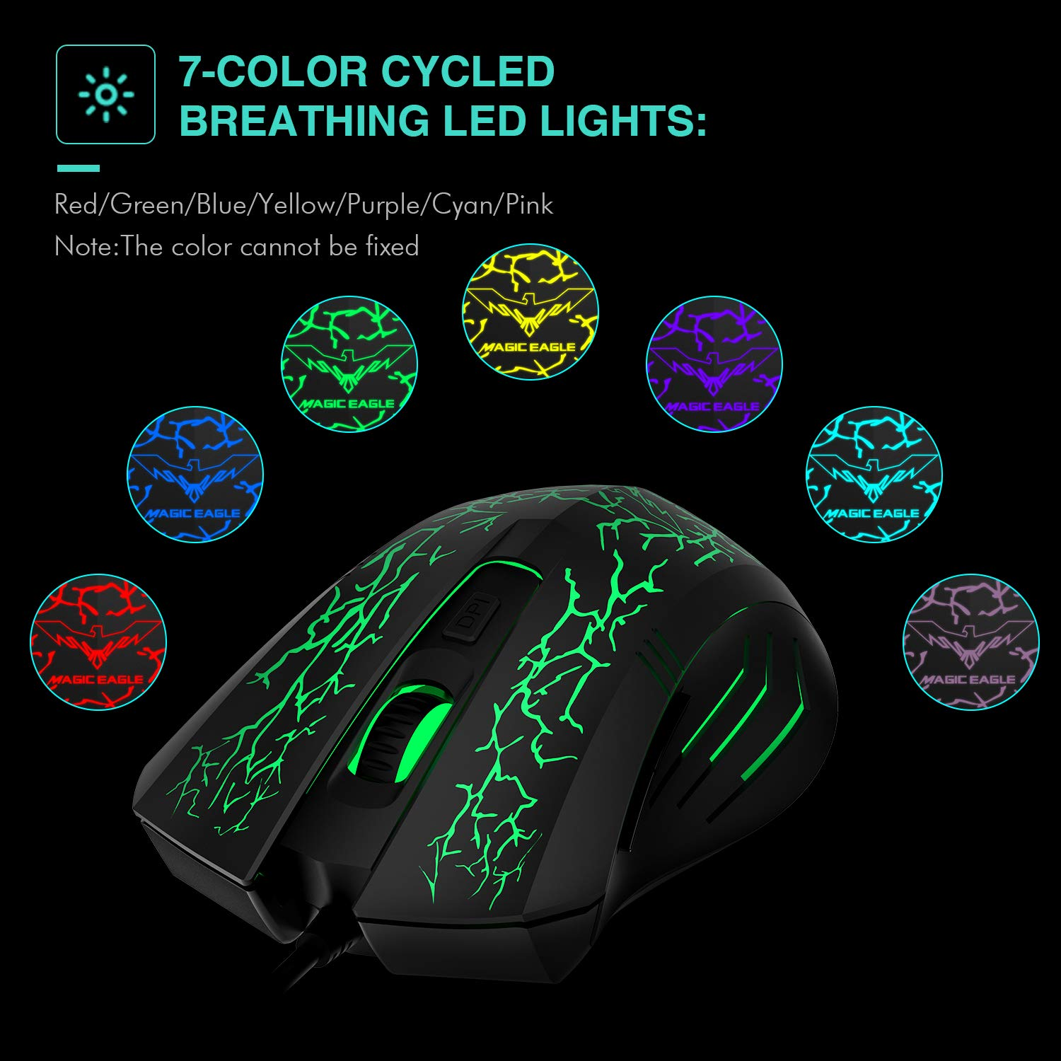 64bb54d84fe Amazon.com: HAVIT HV-MS672 3200DPI Wired Mouse, 4 Adjustable DPI Levels,  800/1200/2400/3200DPI, 7 Circular & Breathing LED Light, 6 Buttons (Black):  ...