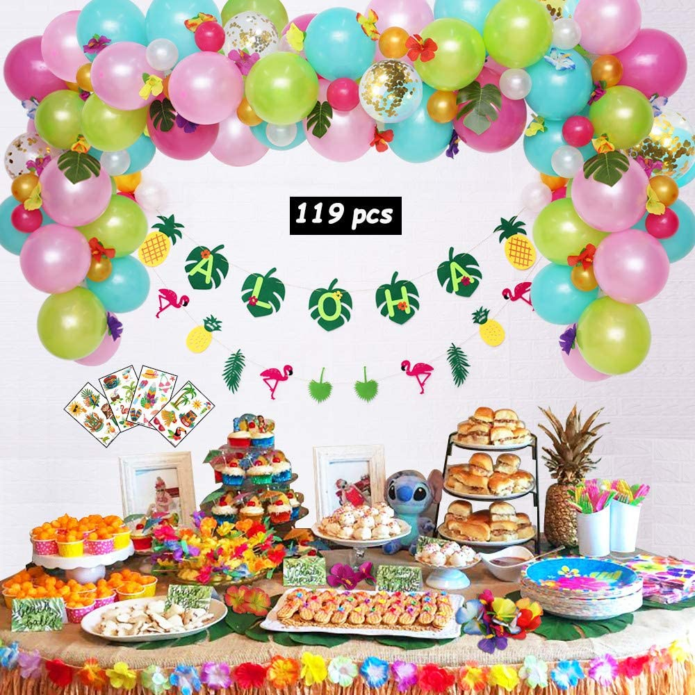 Balloon Garland 119pcs Hawaiian Party Decorations Cocktail Umbrellas Leyzan Premium Luau Party Supplies Aloha Flamingo Pineapple Banner Hibiscus Flowers Leaves Tattoos for Tropical Summer party
