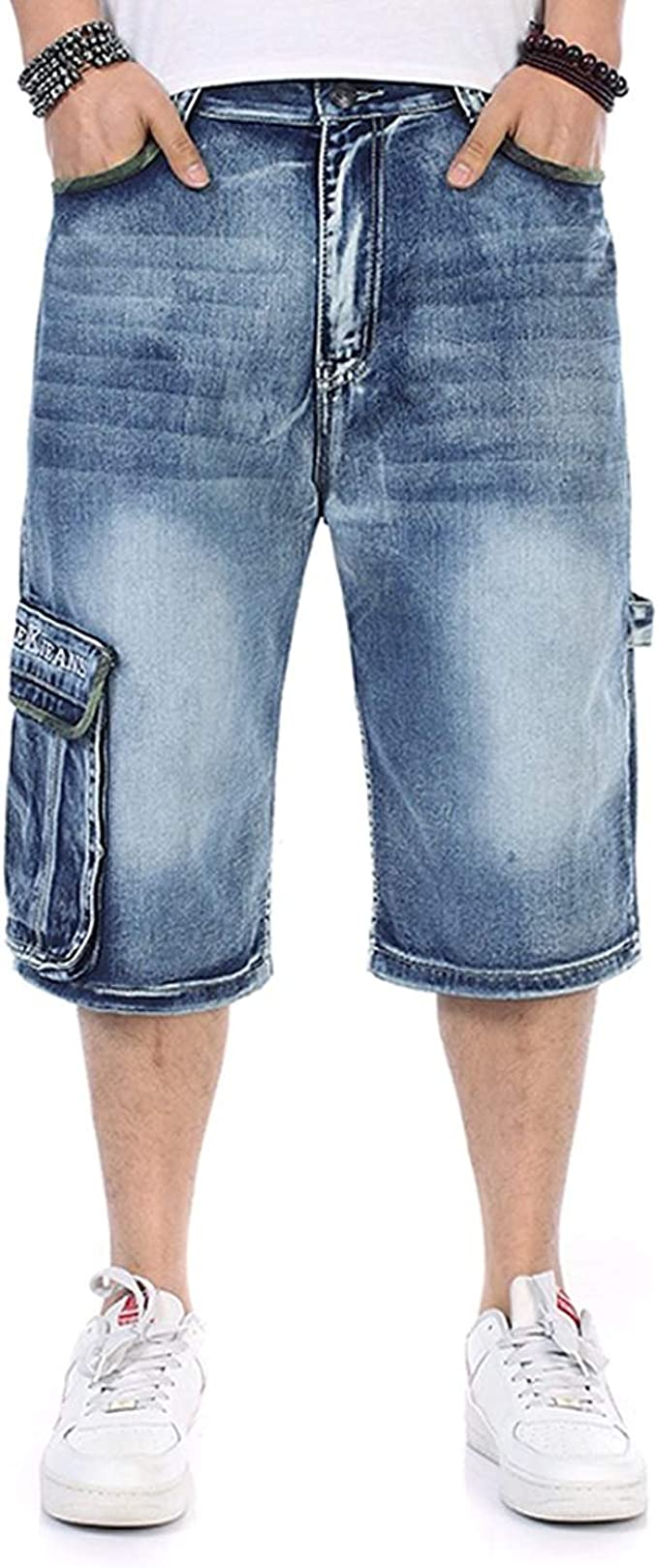 Men's Jeans Shorts Cargo Denim Shorts Relaxed Fit Big and Tall Loose Casual Plus Size 30W 46W
