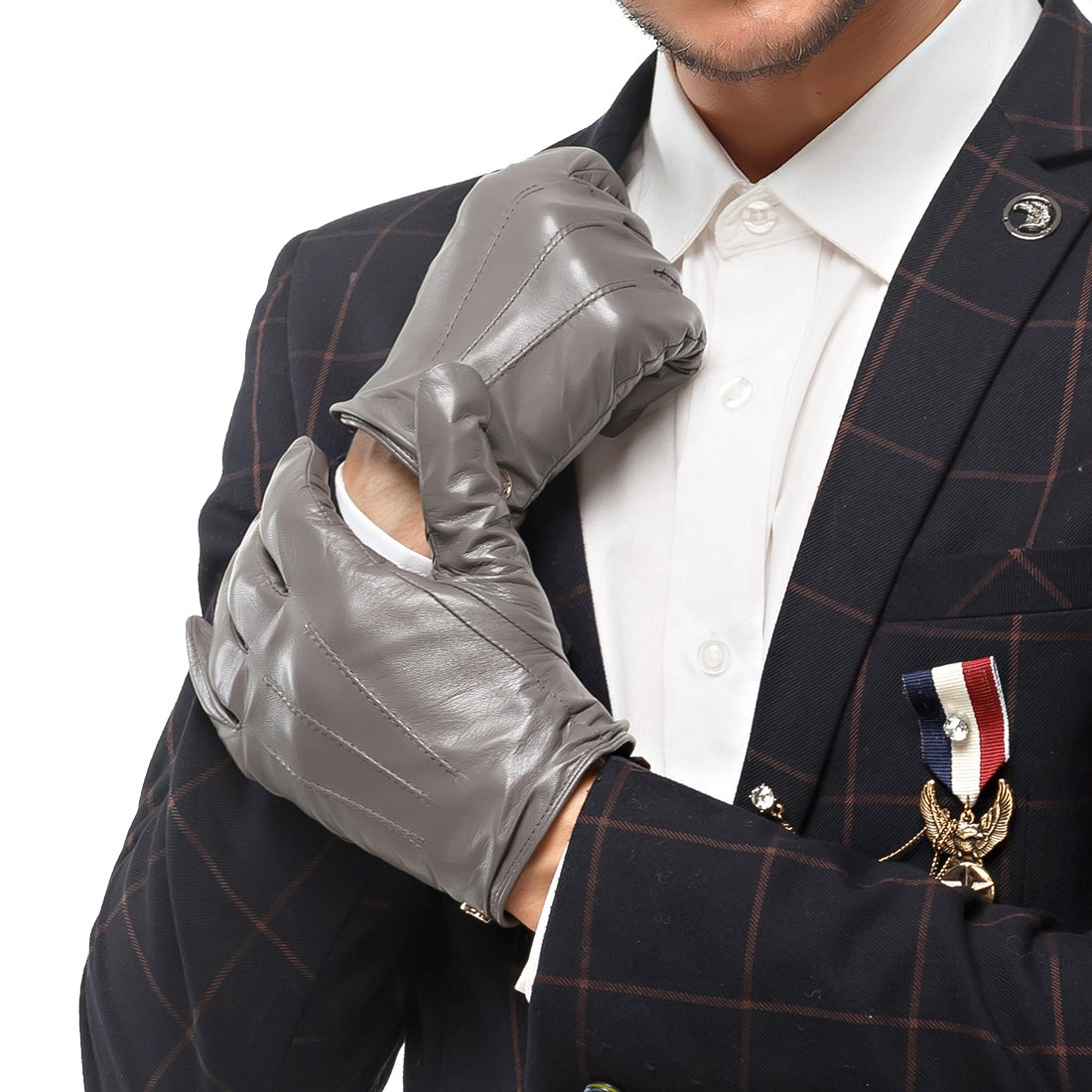 Nappaglo Men's Classic Lambskin Leather Gloves Touchscreen Winter Warm Driving Mittens with Long Fleece Lining (L (Palm Girth:8.5''-9''), Grey (Non-Touchscreen))