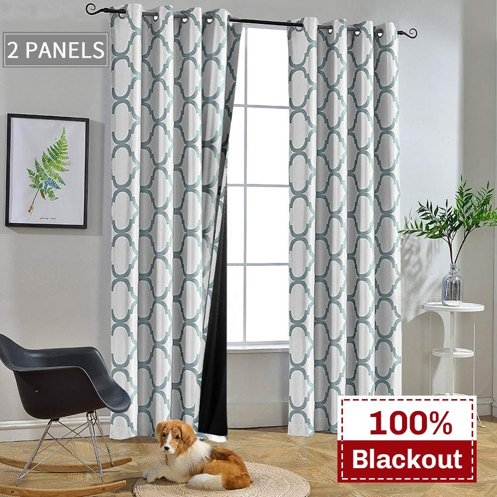 Melodieux Moroccan 100% Blackout Curtains for Bedroom 63 Inch Length, Living Room Thermal Insulated Black Liner Grommet Drapes, 52 x 63 Inch, White/Teal (2 Panels)