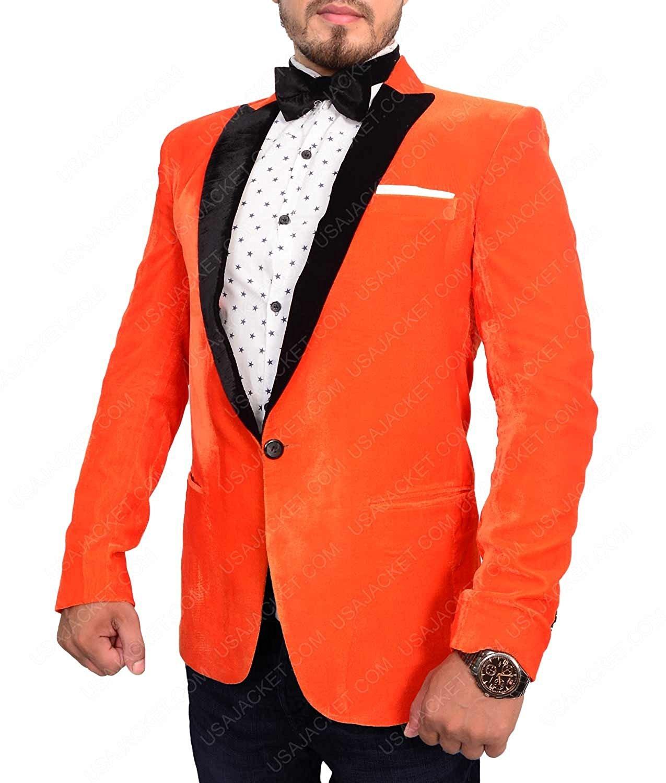 ZARAR Kingsman Glasses Men's Velvet Dinner Collar One Button Blazer Sports Coat Jacket (S, Orange)