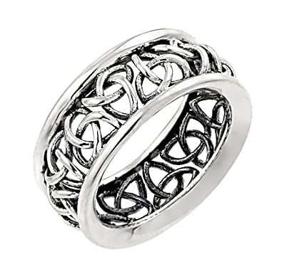 Amazon.com: Sterling Silver Trinity Knot Band Celtic Wedding Ring ...