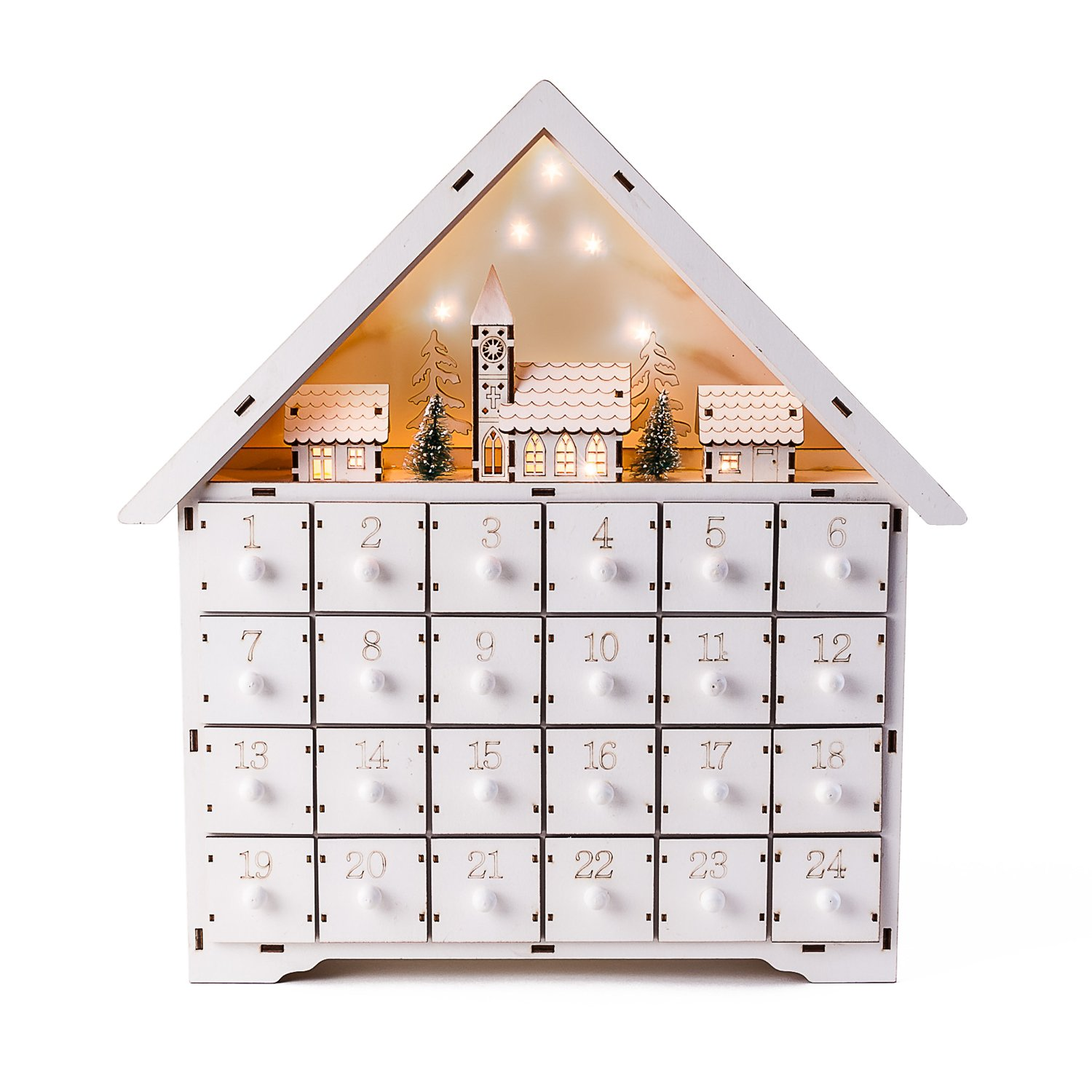 Christmas Wood White Alpine House Lighted Scene Advent Calender w/Drawers 180 Degrees CY0030