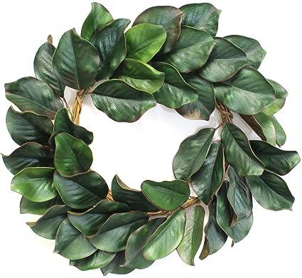 Amazon Com Silk Road Home Magnolia Wreath 24 Inch For Front Door