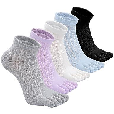 PUTUO Mujer cinco dedos calcetines de deporte, Calcetines de dedos mujer calcetines de algodón, suave y transpirable, EU36-42, 5 pares: Amazon.es: Ropa y ...