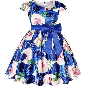 18a16245155f #4 LLQKJOH Girl Dress Kids Ruffles Lace Party Wedding Bridesmaid Dresses