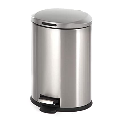 e0a80fe2ba2 Home Zone Stainless Steel Kitchen Trash Can with Oval Design and Step Pedal