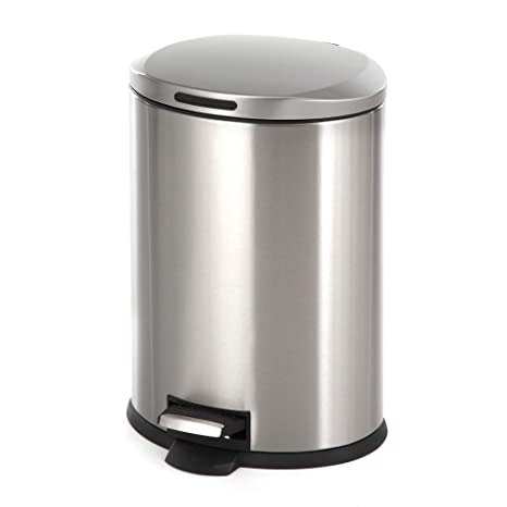 Home Zone Stainless Steel Kitchen Trash Can with Oval Design and Step Pedal  | 12 Liter / 3 Gallon Storage with Removable Plastic Trash Bin Liner, ...