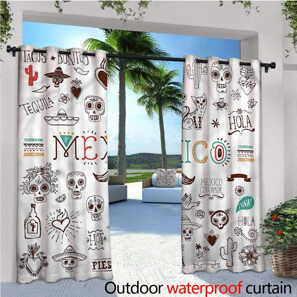 warmfamily Mexican Fashions Drape Cactus Tequila Lemon Pepper Outdoor Curtain Waterproof Rustproof Grommet Drape W72 x L84