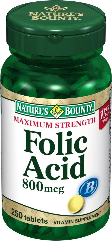 Nature's Bounty Folic Acid, 800mcg, 250 Tablets (Pack of 24)