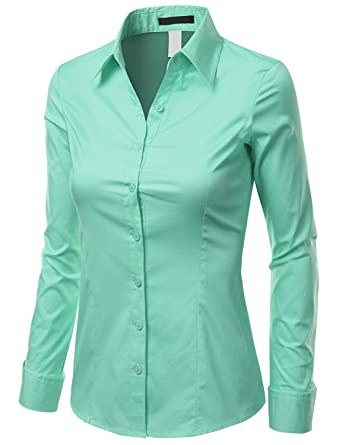 8d101b4c327 Doublju Slim Fit Cotton Blend Button Down Collared Shirt For Women With  Plus Size AQUA LARGE