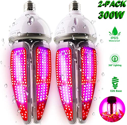 2 Pack 300W LED Grow Light Bulb, MILYN Plant Light Bulb Full Spectrum Grow Light Blubs for Indoor Plants Seed Starting Veg Flower, E26 Grow Lamp with Waterproof 65 for Hydroponics,Garden, Greenhouse
