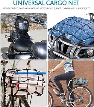 Mictuning 40x40cm Motorrad Gepäcknetz Motorrad Netz Fahrrad Netz Mit 6 Haken Strecket Bis 76x76cm Auto