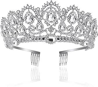 Crown, Tiara, YallFF Prom Queen Crown Quinceanera Pageant Crowns Princess Crown Rhinestone Crystal Bridal Crowns Tiaras for Women