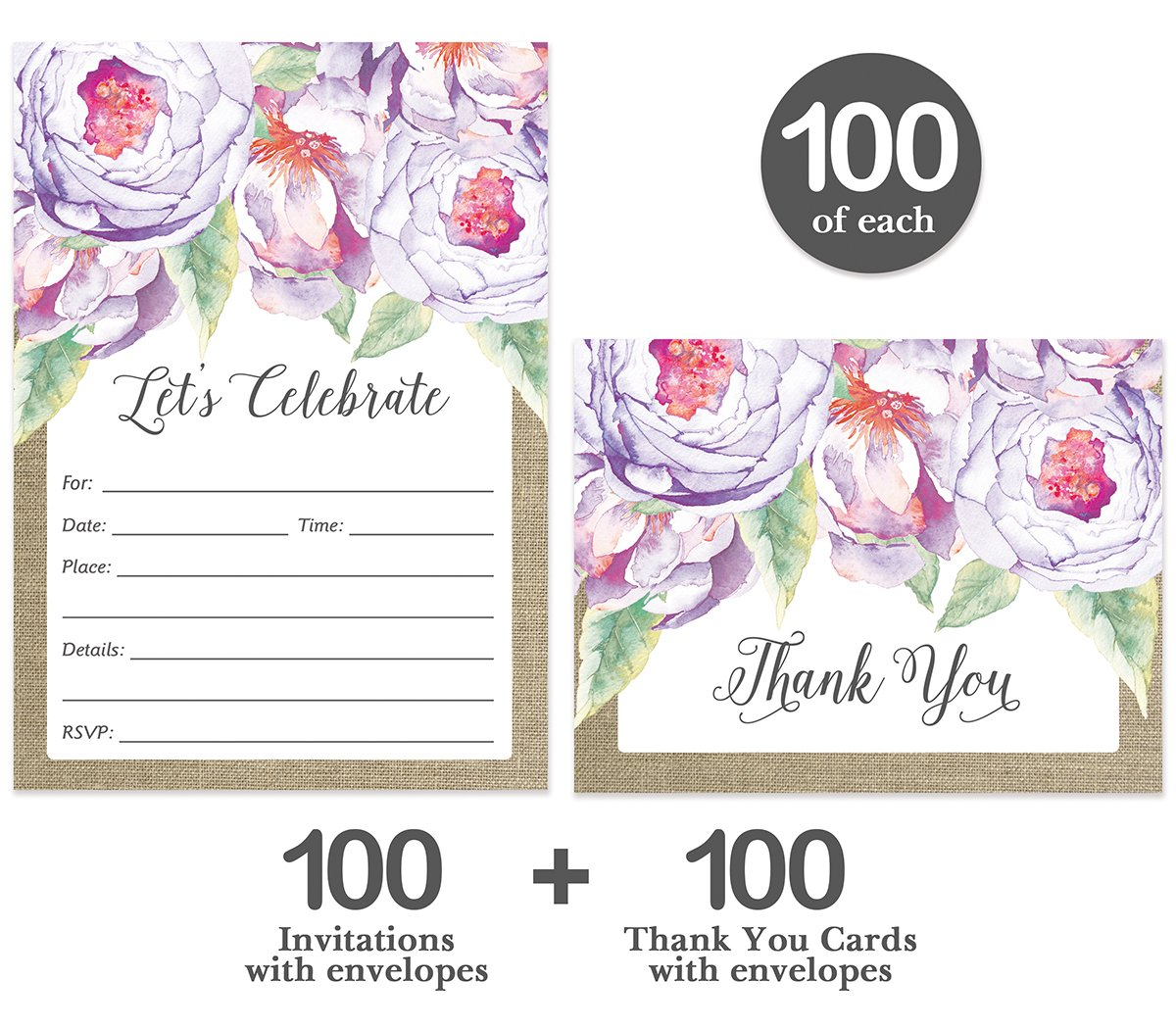All Occasion Invitations & Folded Thank You Cards Matching Set with Envelopes ( 100 of Each ) Beautiful for Bridal Shower Engagement Birthday Party Fill-in Invites & Thank You Notes Best Value Pair by Digibuddha (Image #2)
