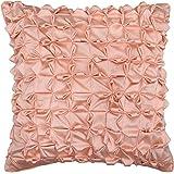 S4Sassy Decor Handmade Satin Cushion Cover Peach Pillowcase Square Pillow Cover 12 x 12