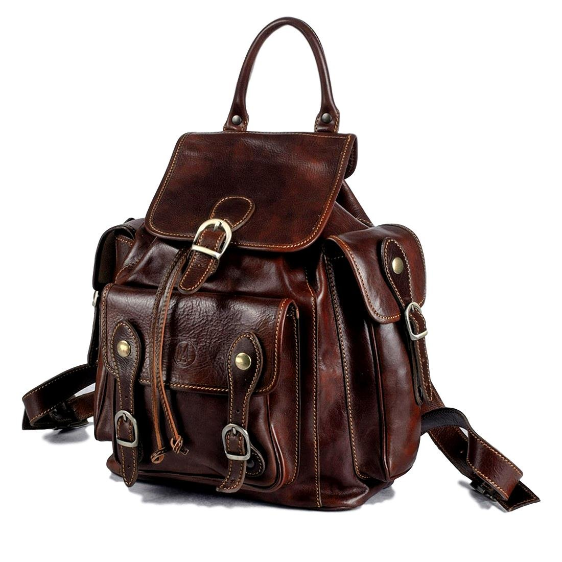 Michelangelo Genuine Leather Calf-Skin Italy Overland Backpack Leather 35x25 H40 cm