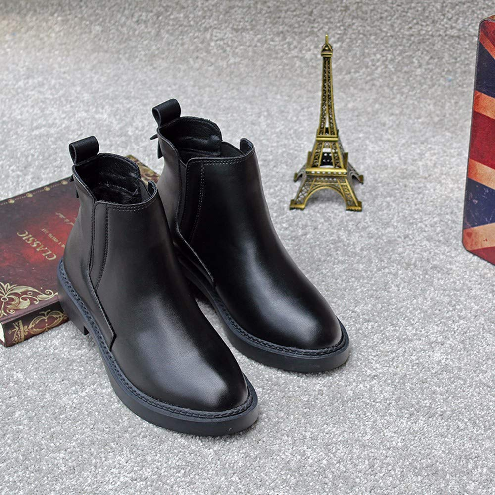 KOKQSX-Damen - Stiefel Leder Stiefel runden Kopf Mode Kurze Stiefel Leder Chelsea Stiefel. fbeb68