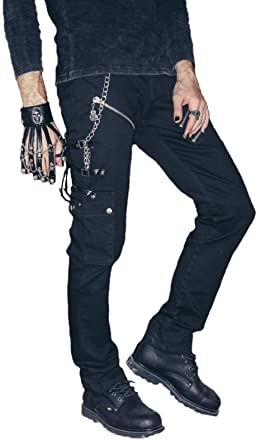 86e7df8ce7 Biker Jeans Trousers, Leather Buckles Gothic Punk Rave Black with Studs -  Black - XXL: Amazon.co.uk: Clothing