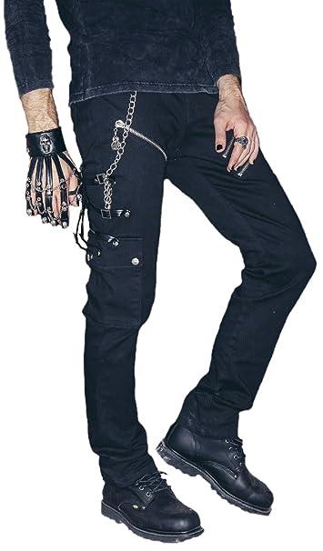 Biker Pantalones Vaqueros con Piel Hebillas Gótico Punk Rave ...