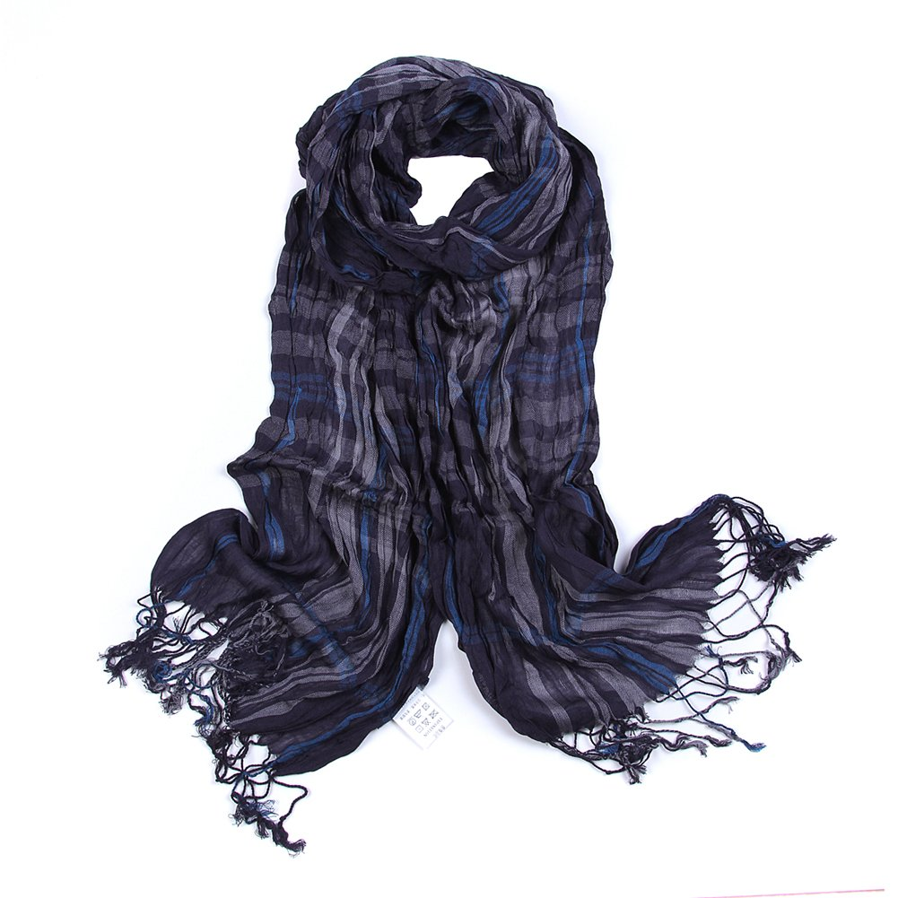 Sainfee Classical Plaid Men Scarf Warm Soft Shawls Cotton Fabric Scarves (Black plaid)