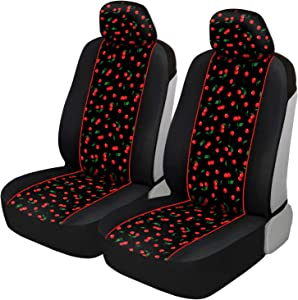 BDK FreshProtect Cheeky Cherry Sideless Fun Graphic All Protective Front Seat Covers for Auto Cars -Sedan Truck SUV Minivan - Non Fade - Universal 2 Piece