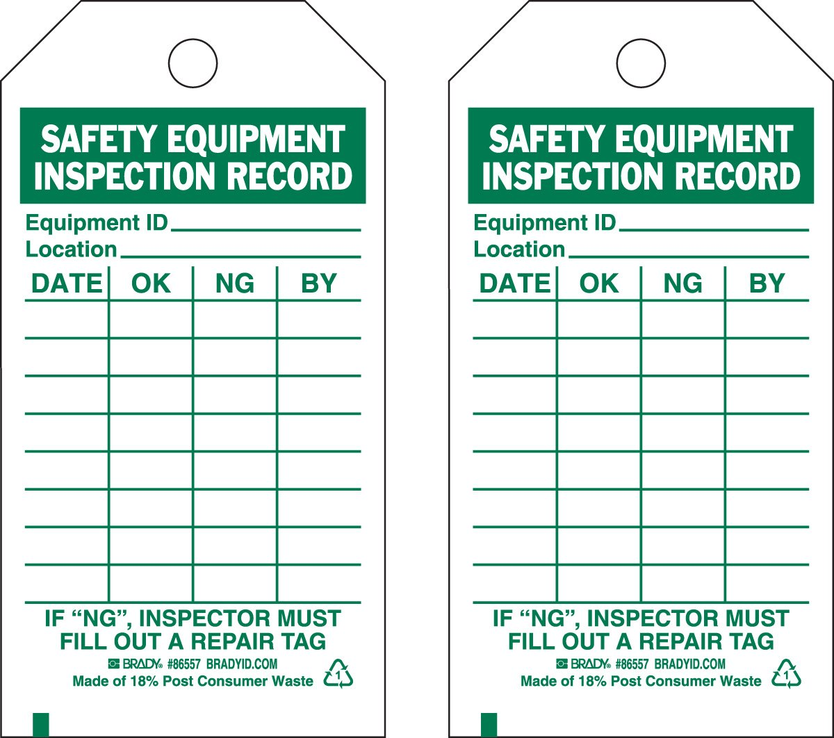 Brady 86557 5 3/4'' Height x 3'' Width, Economy Polyester (B-851), Green on White Safety Equipment Tags (10 Tags)