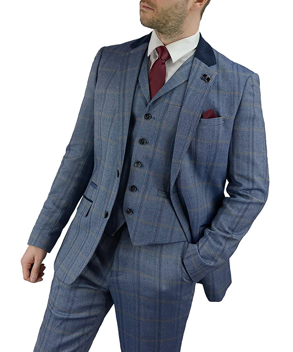 Cavani Connall Men Blue 3 Piece Tweed Suit