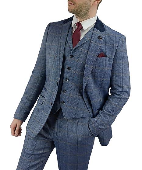 bebbf5165 Cavani Connall Men 3 Piece Tweed Check Suit, Blue, Brown & Navy (Blue