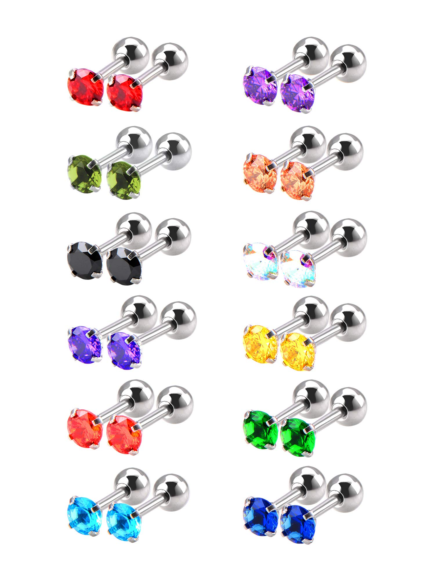 Mudder 12 Pairs 18 Gauge Stud Earrings Stainless Steel Barbell Studs Helix Earring Body Piercing Jewelry, 12 Colors (Cubic Zirconia) by Mudder
