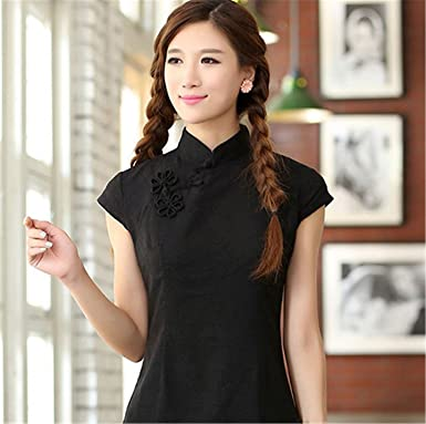 8304c7393e6eb7 Female Cotton Linen Short Sleeve Shirt Chinese Women's Mandarin Collar  Blouse Novelty Button Tops S -