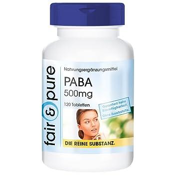 PABA 500 mg - 120 comprimidos de vitamina B10 (ácido paraaminobenzoico) - Sustancia pura y sin aditivos: Amazon.es: Salud y cuidado personal