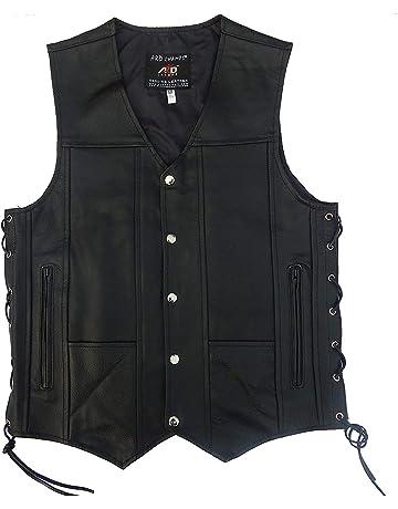 huge discount ccba1 a71c8 2Fit Men s Black Genuine Leather 10 Pockets Motorcycle Biker Vest New S to  9XL (X
