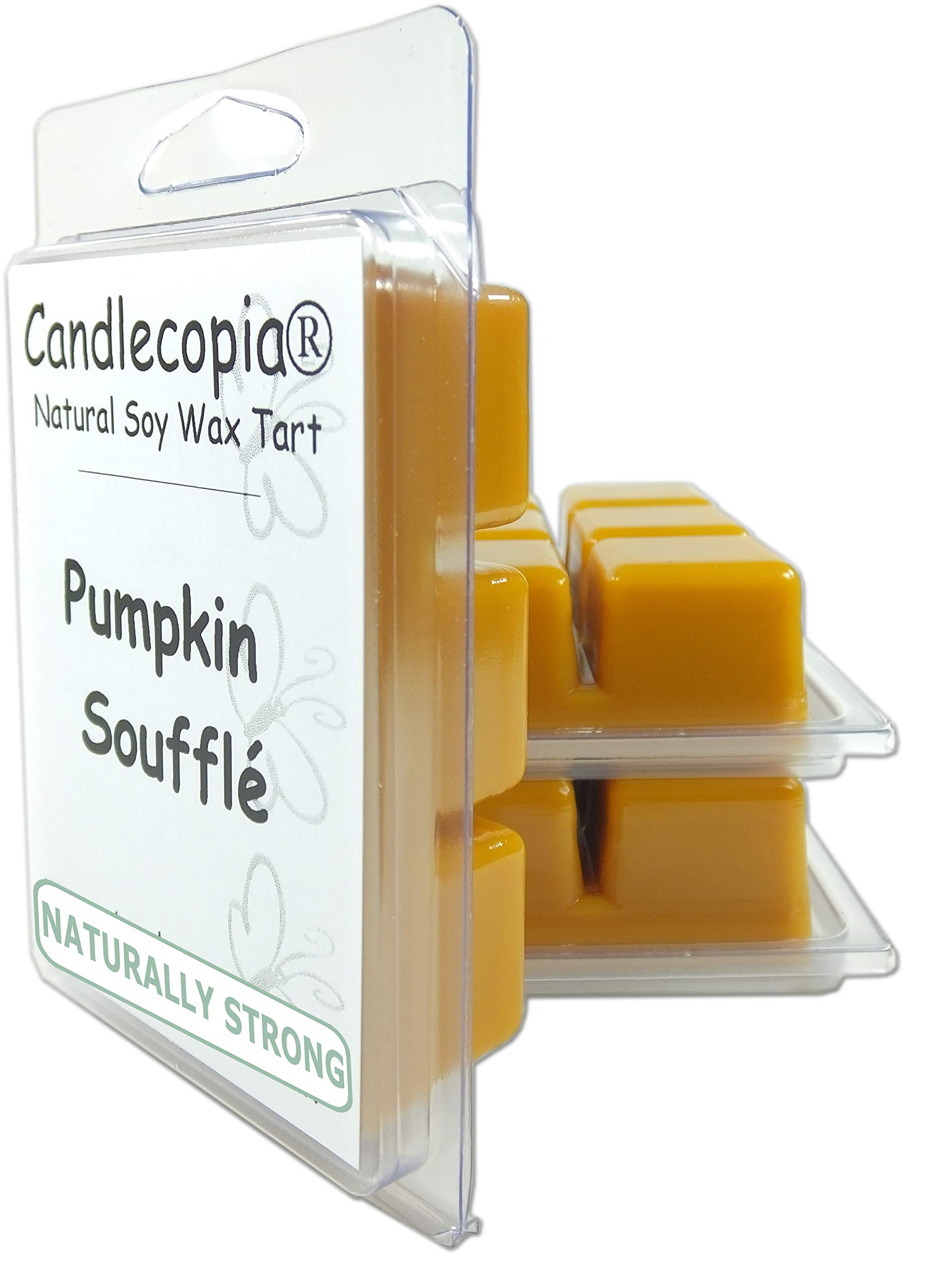 Candlecopia Pumpkin Soufflé Strongly Scented Hand Poured Vegan Wax Melts, 18 Scented Wax Cubes, 9.6 Ounces in 3 x 6-Packs