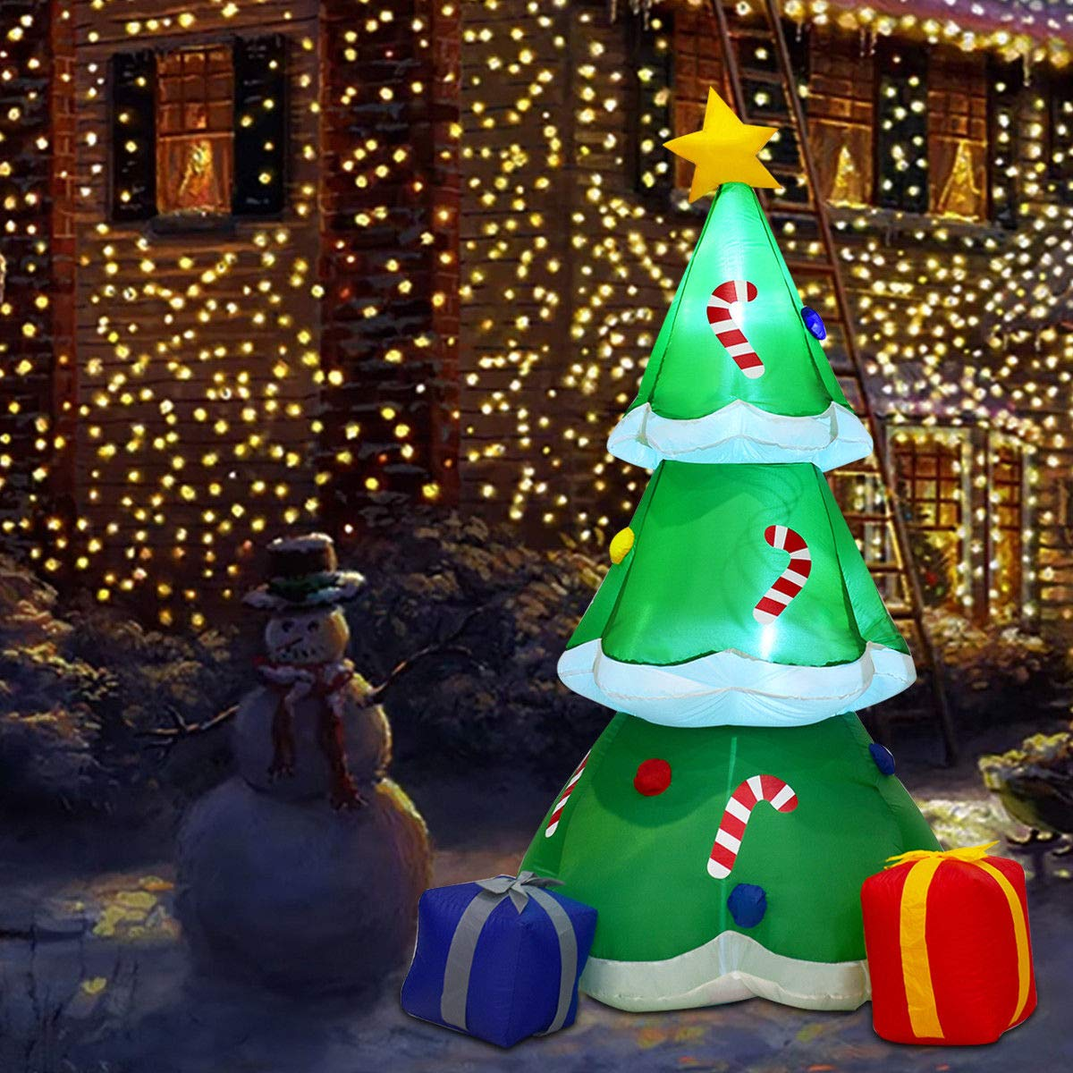 Indoor Outdoor Garden Yard Family Prop Decoration Tangkula 6 FT Inflatable Christmas Tree with Gift Boxes Self Inflating Electric Blow Up Lighted Interior with Fan and Anchor Ropes