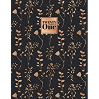 2021: Diary A4 Week to View on 2 Pages WO2P Weekly Planner | Large Horizontal Lined Journal | Black & Gold Copper Floral…