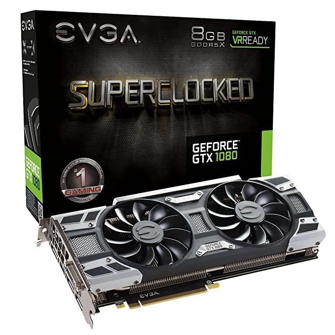 EVGA GeForce GTX 1080 SC GAMING ACX 3 0, 8GB GDDR5X, LED, DX12 OSD Support  (PXOC) Graphics Card 08G-P4-6183-KR
