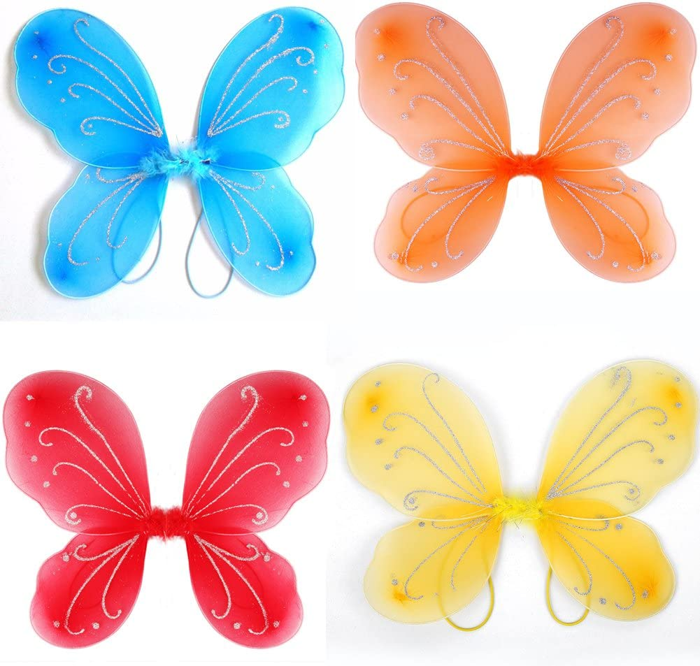 Dushi Girls Butterfly Fairy Wings for Fairy Costumes Party Favor Mixed Color Set of 10 Pack /…