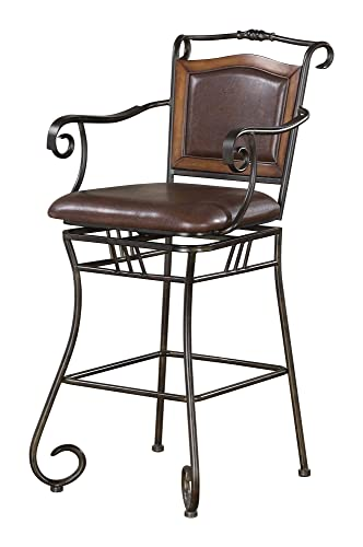 29 Bar Stool with Upholstered Seat Brown and Bronze