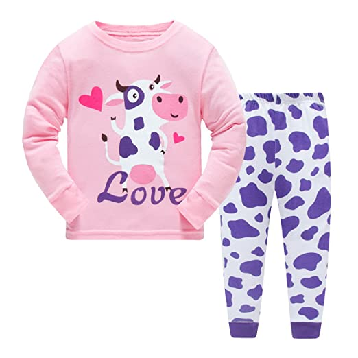 23e9ba4c81 Image Unavailable. Image not available for. Color  Girls Pajamas Blue Cow Children  Pjs Kids Rib Long Sleeves Cotton Clothes Set