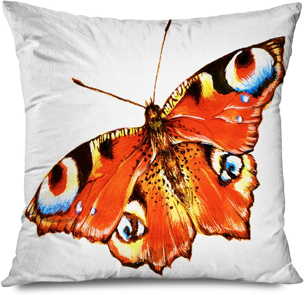 Onete Throw Pillow Cover Square 16x16 Inches Red Drawing Painting Butterfly Over Drawn White Animals Wildlife Colorful Admiral Symmetry Abdomen Decorative Pillowcase Home Decor Cushion Pillow Case