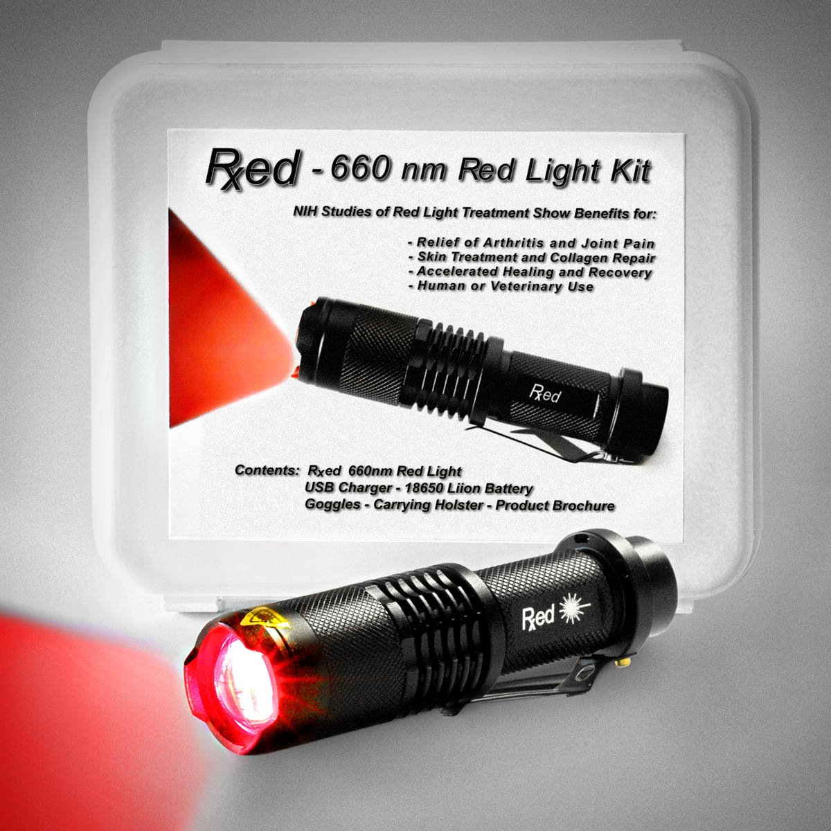 RxED - 660nm Red Light Kit - Years of NIH Studies Show Benefits of Red Light Therapy in Relieving Joint Pain and Swelling, Improving Skin Texture and Facilitating Healing and Treatment of Injuries by Rxed