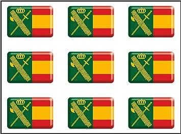 Artimagen Pegatina rectángulos Bandera con Logo Guardia Civil 9 ...