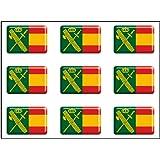 Artimagen Pegatina rectángulos Bandera con Logo Guardia Civil 9 uds. Resina 16x11 mm/ud